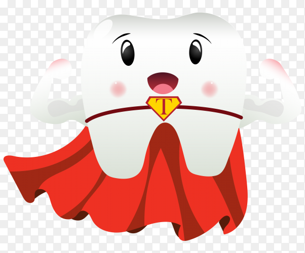 Cartoon strong tooth on transparent background PNG]